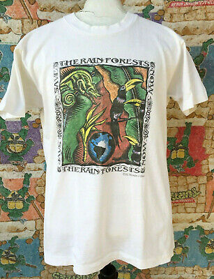 Vintage Save The Rainforest Tee T-shirt 1992 Human i Tees 90s Wolverine Pride!!