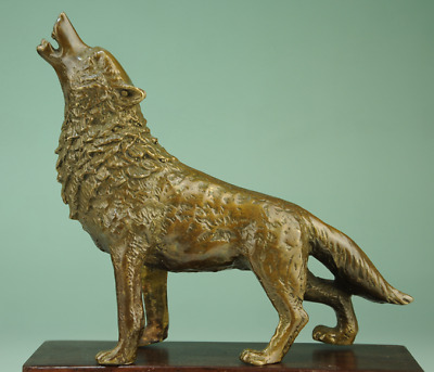 China old Collectible Decorated Handwork Bronze Sculpture Wolf statue Ac02D