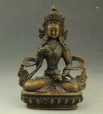 Chinese old fengshui copper hand-carved KWAN-YIN Guanyin Buddha statue c02