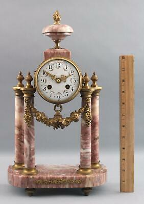 Antique French JUST Gilt Brass & Pink White Marble Urn Column Mantle Clock