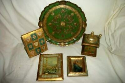 Italian Florentine Green Gilt Lot Vintage Tray Bookend Grinder Pictures