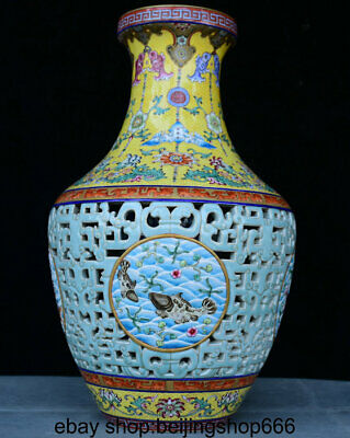 Chinese Famille rose Porcelain Handmade Carved Hollow vase W QianLong Mark a313