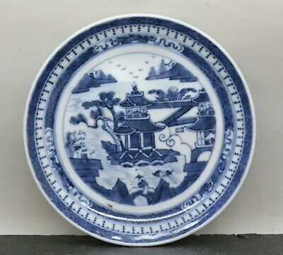 Vintage Chinese Hand Painted Willow Pattern Blue & White Porcelain Plate
