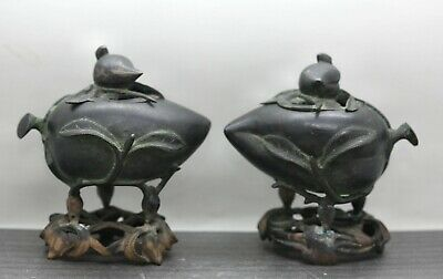 A Pair Of Antique Chinese Bronze Peach Form Incense Burner Circa 1800s