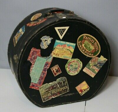 Vintage Antique Victorian Shabby but Chic Hat Box with Travel Stickers