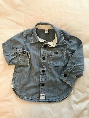 EUC Baby Gap Toddler Boys Chambray Button Down Denim Blue Shirt In Size 2 Years