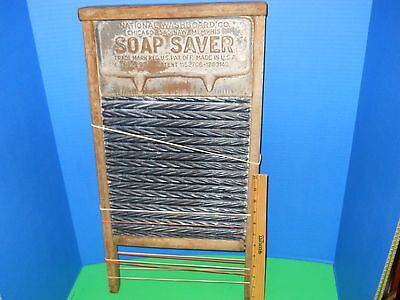 Antique National Washboard Co Soap Saver No. 197 Wood Tin 1915