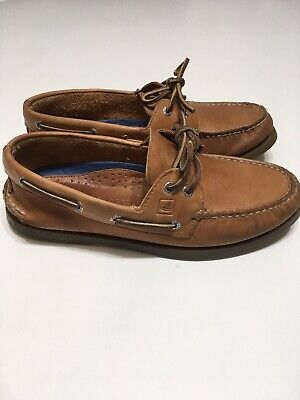 Mens SPERRY TOP-SIDER Topsider Brown Tan Leather Boat Shoes Size 8.5 #0197640