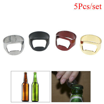 5pcs set mixed ring beer bottle opener stainless steel finger thumb waiter to ra