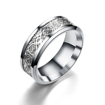 Fashion Silver Celtic Dragon Titanium Stainless Steel Men's Wedding Ring Sz12