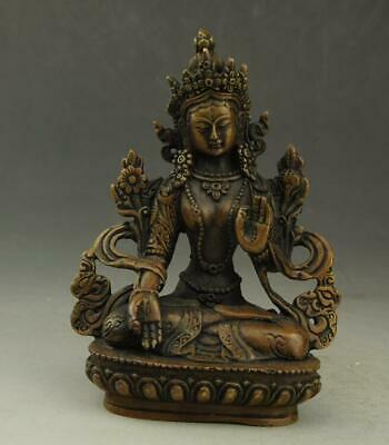 Chinese old fengshui copper  hand engraving   KWAN-YIN Guanyin statue c02