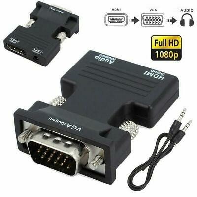 1080P HDMI Female to VGA Male with Audio Output Cable Converter Adapter black#
