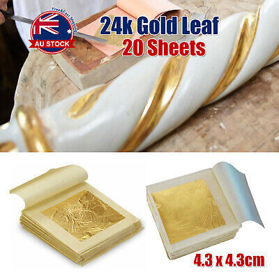 20x Pure 24K Edible Gold Leaf Sheets For Cooking Framing Art Craft Decorating A