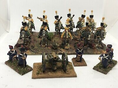 Metal NAPOLEONIC ARMY SOLDIERS Light Cavalry Mounted Band w/ Horses + Cannon