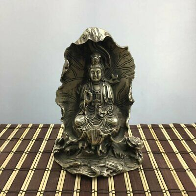 China old copper plating silver style decor lotus buddha kwan-yin statue e01