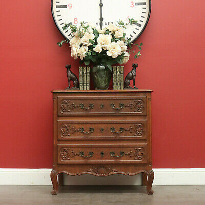 Antique French Oak Chest of Drawers, 3 Drawer Hall Cabinet, Brass handles
