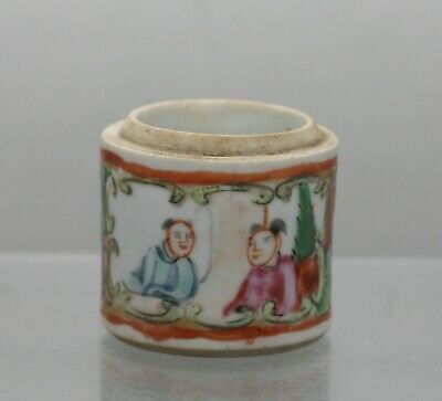 Fantastic Antique Chinese Famille Rose Hand Painted Porcelain Small Jar c1800s