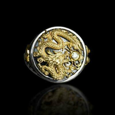Men's Chinese Dragon Carved 18K Black Gold Plated Ring Party Jewelry Gifts