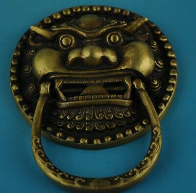 Chinese old Hand Made Copper Casting Lions knocker statue /2 b02