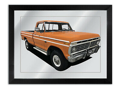 Bar Mirror Artwork Suit Orange 1975 Ford F-250 Enthusiast Others Available