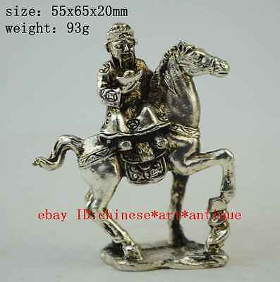 Old china copper plating silver Wealth Yuanbao Ride Horse Mammon God statue a01