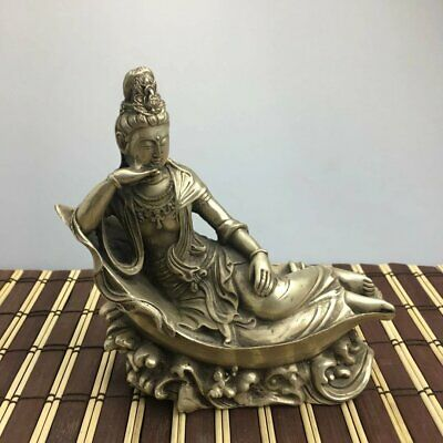 chinese old copper plating silver hand engraving  KWAN-YIN statue e01