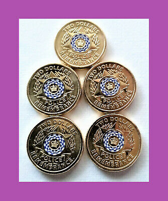 2019 $2, 2 Dollar Police Remembrance Coin - 5 Coins