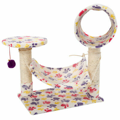 """23"""" Cat Tree Pet Furniture Condo House Scratch Post Bed Tower White Footprints"""