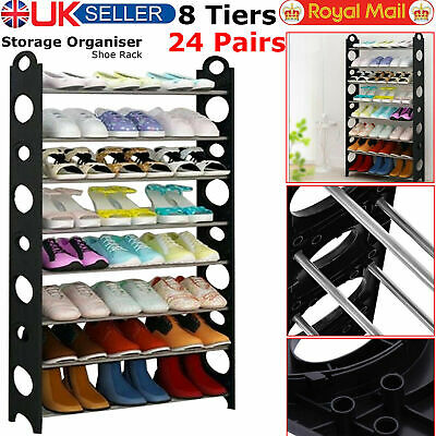 8 Tier Shoe Storage Shelf Home Footwear Rack Stand Organizer 24 Pairs Shoes