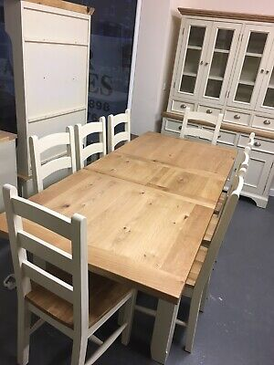 1.8m Painted Farmhouse Extending Dining Table And 8 Chairs