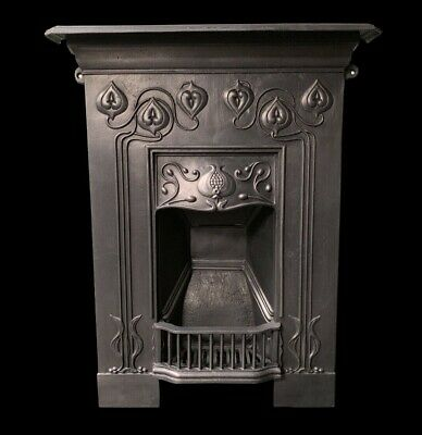 Stunning Original Antique Art Nouveau cast iron Fireplace complete