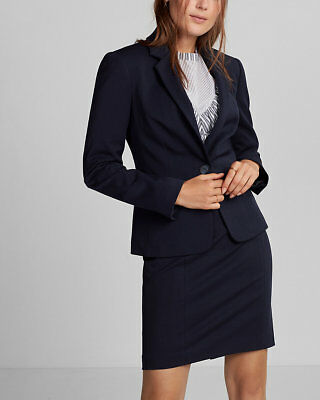 NEW from Express $128 Notch Collar One Button Blazer Pitch Black 58 SIZE 4