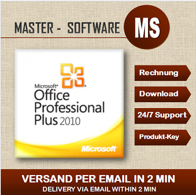 ➞Office Professional Plus 2010 ➞Produkt Key per Email ➞32&64 Bits