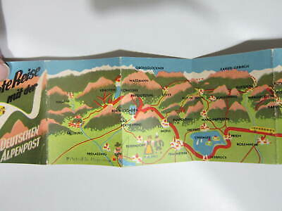Vintage 1940s? PANORAMA PICTORIAL MAP OF THE BAVARIAN ALPS * COLOR * RARE