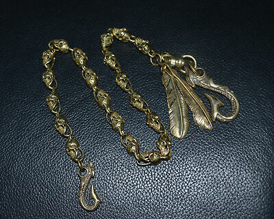 Handmade Copper Brass Casting Skull Hand Polished Punk Pants Chain Hook COOL