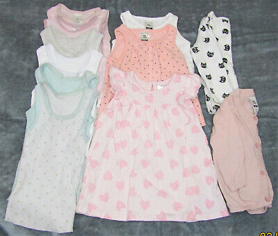 Bulk Baby Girls Clothes, Size 00, 11 Items, Singlets, Cardigan, Dress, Tops
