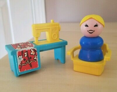 Vintage Fisher Price little people yellow/turquoise sewing machine/chair/woman