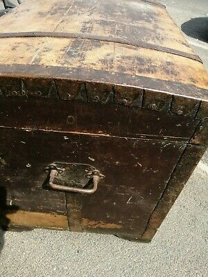 Y  Antique Victorian Chest - Dome Top - Coffer - Trunk - Domed top