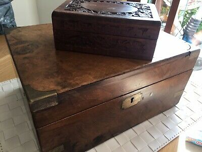 Antique Victorian Oak Brass Bound Campaign Writing Slope Needs Repair No Key