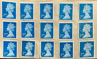 Gb 30 2Nd Second Class Blue Security Stamps Unfranked Off Paper With Full Gum