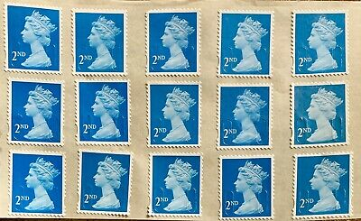 Gb 30 2Nd Second Class Blue  Stamps Unfranked Self Adhesive With Full Gum