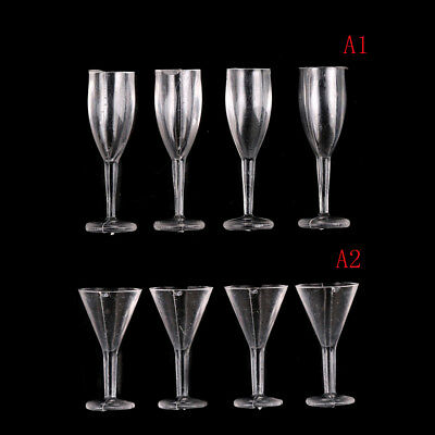 4PCS 1:12 Dollhouse Miniature DIY Cocktail Glass Red Wine Goblet VG