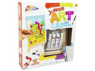 Junior Art Easel Paint Pack Wood Easel Acrylic Paints Mixing Tray Brushes Canvas