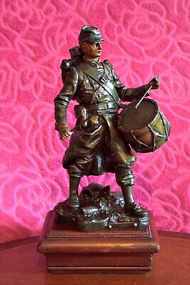 Antique WW1 French Army Drummer Spelter Bronze Patinated Sculpture by L'assaut