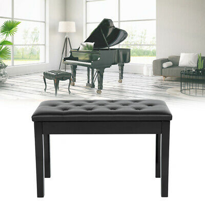 Double Person Leather Piano Wood Bench Storage Keyboard Stool Padded Seat
