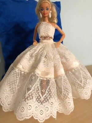 Barbie Doll Fancy Clothes - Cream Lace & Satin Evening Dress Extra Full Skirt