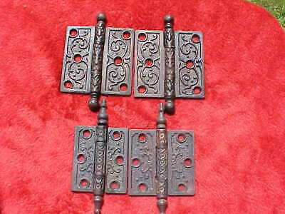 2 Pair Antique Cast Iron Eastlake Ornate Steeple Top Hinge