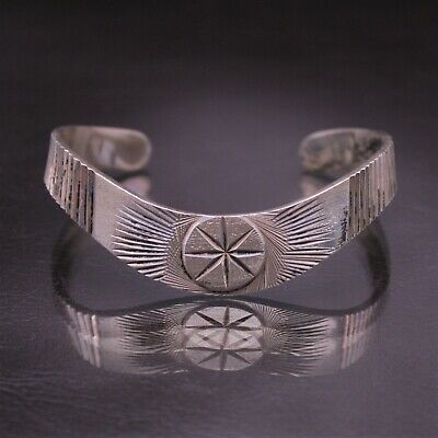 "Vintage TAXCO Mexico Diamond Cut ""Star"" Cuff Bracelet Sterling Silver Size 6 1/2"