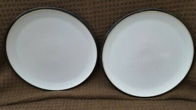 Denby Everyday BLACK AND GREY DINNER PLATES X 2