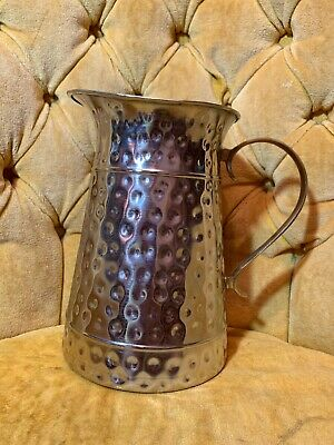"""Stunning India Silverplated Brass Water Drink Jug Pitcher Large Hammered 8.75""""x6"""